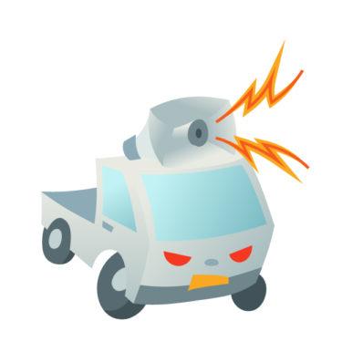 廃品回収車などによる騒音被害には110番を!